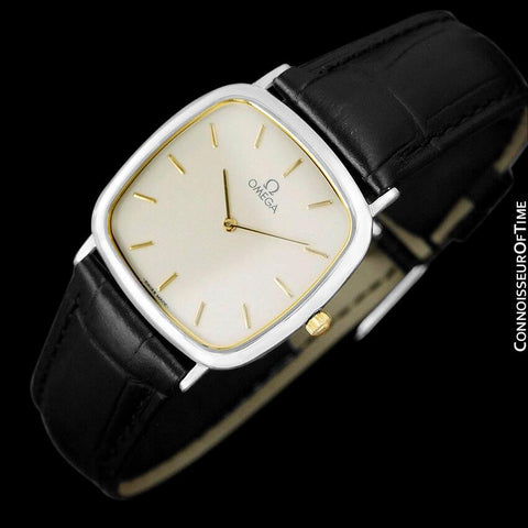 1980's Omega De Ville Vintage Mens Midsize Ultra Thin Dress Watch - Stainless Steel
