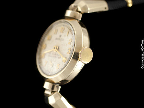 1937 Rolex Vintage Ladies Dress Watch with Scalloped Lugs - 9K Solid Gold