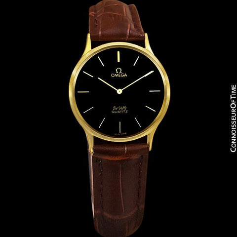 Omega De Ville Vintage Mens Midsize Thin Quartz Dress Watch with Black Dial - 18K Gold Plated