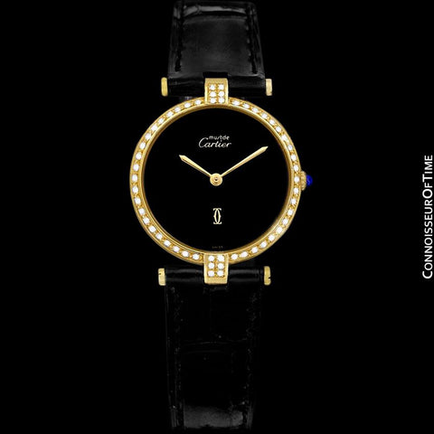 Must De Cartier Vendome Ladies Vermeil Watch - 18K Gold Over Sterling Silver & Diamonds