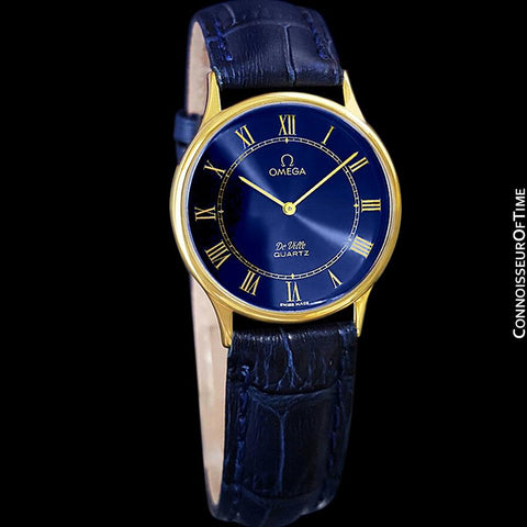 Omega De Ville Vintage Mens Midsize Thin Quartz Dress Watch with Blue Dial - 18K Gold Plated