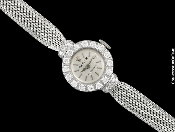 1960's Rolex Ladies Vintage Cocktail Watch - 18K White Gold & Diamonds