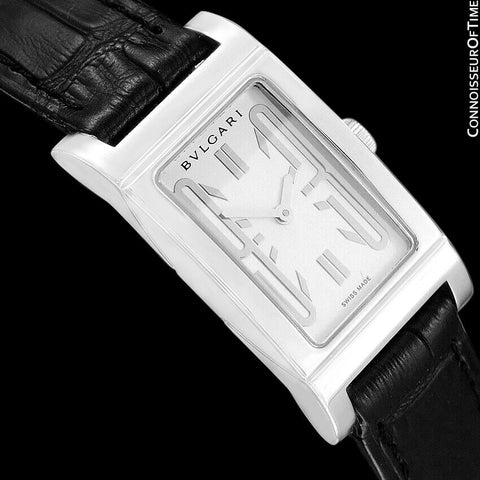 Bvlgari Rettangolo RT39S Ladies Rectangular Luxury Watch - Stainless Steel