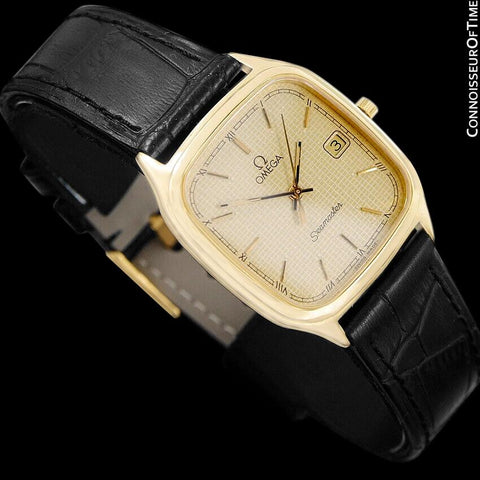 1985 Omega Semaster Brest Vintage Mens Retro Quartz Watch - 18K Gold Plated & Stainless Steel