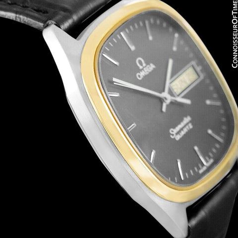 1984 Omega Seamaster Vintage Retro Mens Full Size Quartz Watch, Day Date - 18K Gold Plated & Stainless Steel