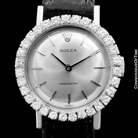 1970 Rolex Pre-Cellini Precision Vintage Ladies Watch, Ref. 2191 - 18K White Gold & Diamonds