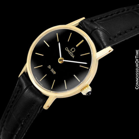 c. 1979 Omega De Ville Vintage Ladies Dress Watch - 18K Gold Plated & Stainless Steel
