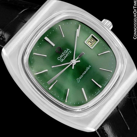 1978 Omega Seamaster Vintage Mens Quartz Date Watch with Green Dial - Stainless Steel
