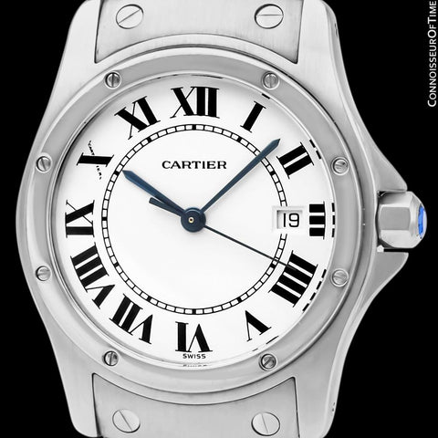 Cartier Santos Ronde Unisex Full Size Ladies Stainless Steel Bracelet Watch - W20027K1