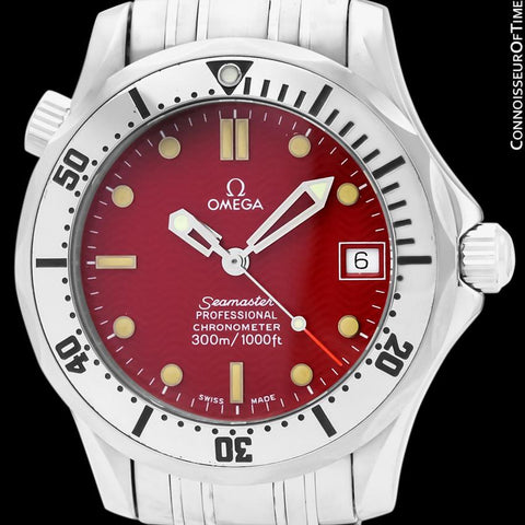 Omega Seamaster Midsize 300M Red Professional Divers Stainless Steel 2552.61 Automatic Watch - Rare Marui Special Edition