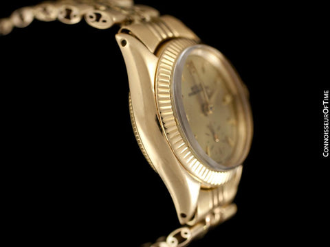 1960 Rolex Vintage Ladies Oyster Perpetual Champagne Dial Watch - 18K Gold