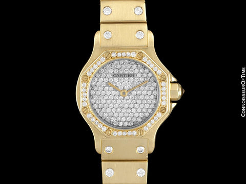 Cartier Santos Octagon Ladies Watch, Automatic Watch - 18K Gold & 1.5 Carats of Diamonds