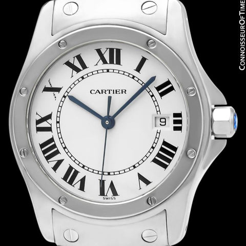 Cartier Santos Ronde Mens Midsize Unisex Bracelet Stainless Steel Watch - W20027K1