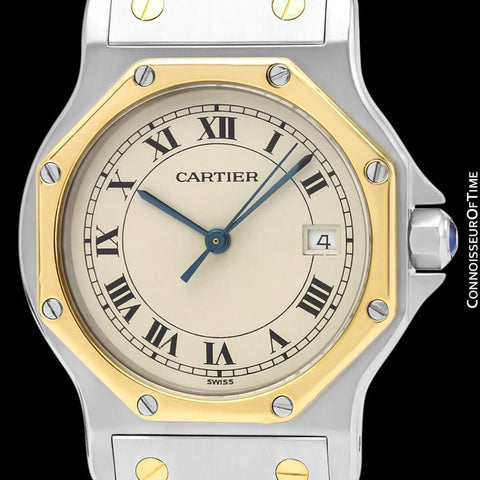Cartier Santos Octagon Mens Midsize Unisex Quartz Watch - Stainless Steel & 18K Gold