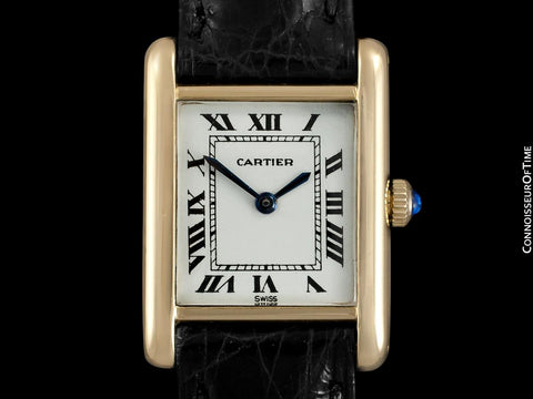 1960's Cartier Vintage Classic Ladies Handwound Tank Louis Watch - Solid 18K Gold