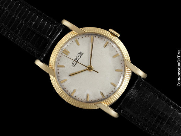 1952 Jaeger-LeCoultre Vintage Mens Watch, Automatic with Beautiful Hobnail Case - 18K Gold
