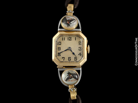 1939 IWC Most Likely for Tiffany & Co. Vintage Ladies Equestrian Horse Watch - 18K Gold, Platinum & Essex Crystal