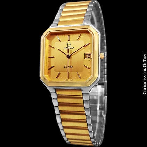 "1982 Omega De Ville ""America"" Classic Vintage Mens Watch, Date - 18K Gold Plated & Stainless Steel"