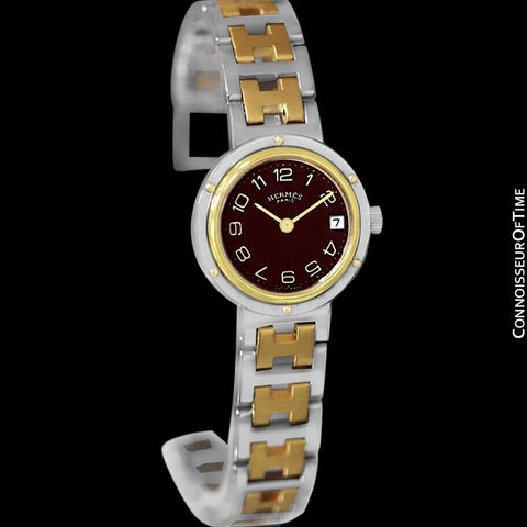 Hermes Ladies Clipper 2-Tone Quartz Watch with Dark Wine Dial - Stainless Steel & 18K Gold Plated