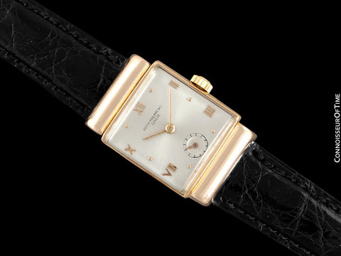 1941 Patek Philippe Vintage Mens Ref. 1438 Rectangular Watch with Hooded Lugs - 18K Rose Gold