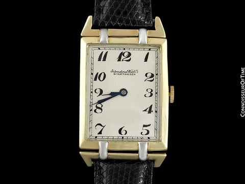 1915 IWC Vintage Mens Art Deco Massive 47mm Rectangular Watch - 18K Yellow & White Gold