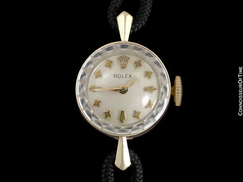 1950's Rolex Ladies Vintage Watch with Rare Star Dial - 14K Gold