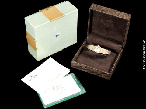 1970's Rolex Vintage Ladies Dress 14K Gold & Diamond Watch - Papers & Box