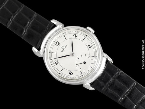 1942 Omega Art Deco Vintage Mens Midsize World War II Era Watch with Sector Dial - Stainless Steel
