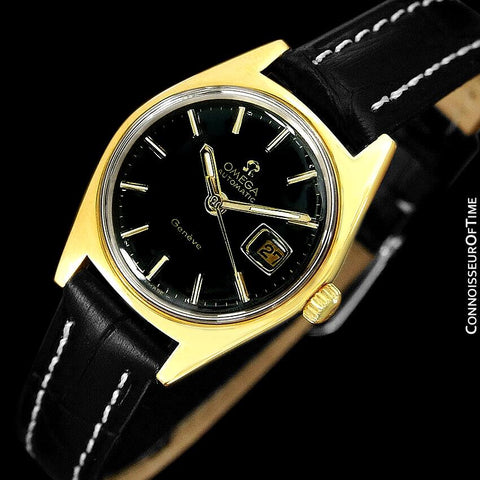 1970 Omega Geneve Vintage Ladies Automatic Retro Watch - 18K Gold Plated & Stainless Steel