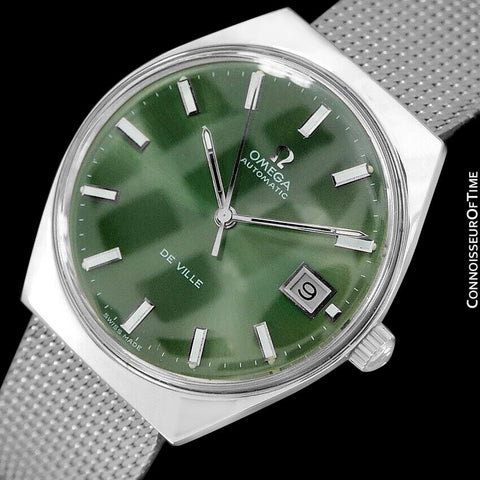 1970's Omega De Ville Vintage Mens Automatic Classic Retro Money Green Dial Watch - Stainless Steel
