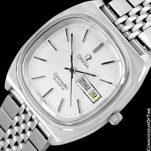 1978 Omega Seamaster Vintage Mens Quartz Day Date Watch with Bracelet - Stainless Steel