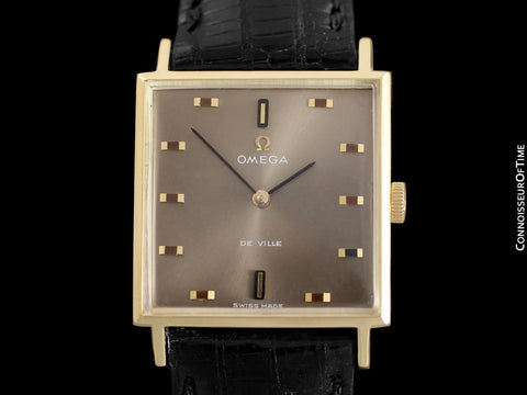 1968 Omega De Ville Vintage Mens Dress Watch with Cool Retro Dial - 18K Gold