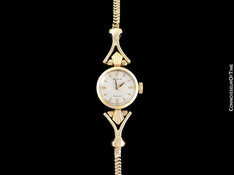 1957 Rolex Ladies Vintage Watch, 18K Gold - Rare & Beautiful Crown Design