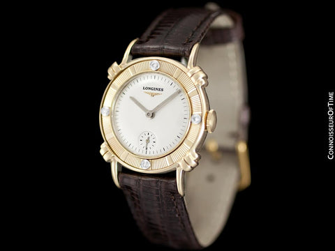 1951 Longines Vintage Mens Midsize Watch with Knot Lugs - 14K Gold & Diamonds