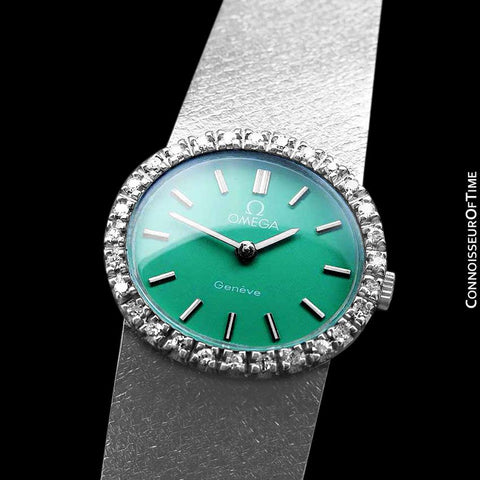 1970's Omega Geneve Vintage Ladies Handwound Shamrock Green Dial Watch - Stainless Steel & Diamonds