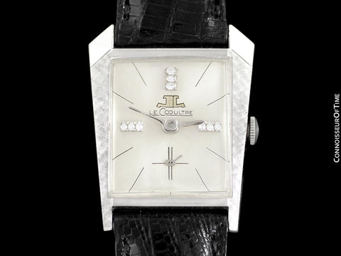 1965 Jaeger-LeCoultre Vintage Mens Asymmetrical Watch - 14K White Gold & Diamonds