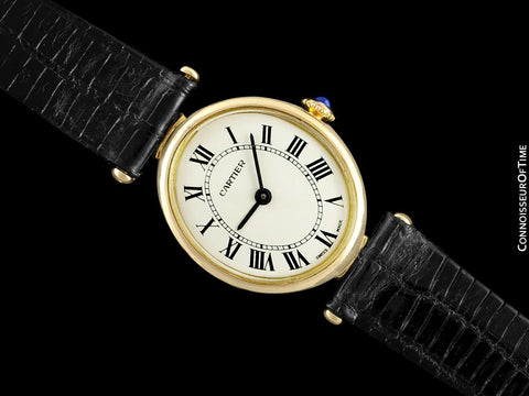1970's Cartier Vendome Oval Vintage Classic Ladies Handwound Watch - 18K Gold