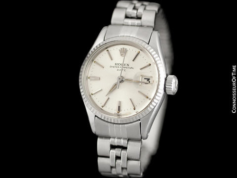 1963 Rolex Classic Vintage Ladies Date Datejust Watch, Silver Dial - Stainless Steel & 18K White Gold
