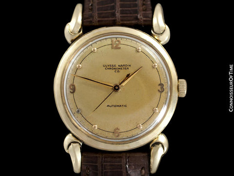 1954 Ulysse Nardin Mens Vintage Chronometer Watch with Special Case - 14K Gold