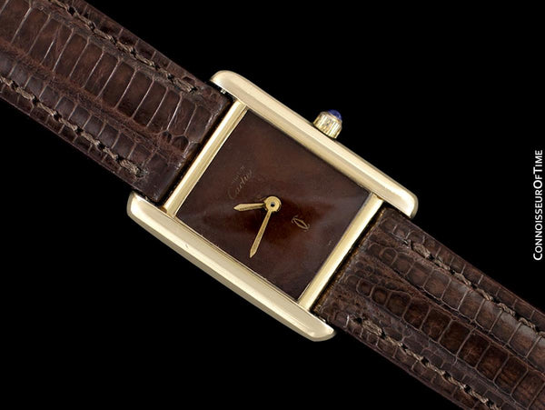 Cartier Vintage Ladies Tank Watch with Chocolate Brown Dial - Gold Vermeil, 18K Gold over Sterling Silver - Papers & Box