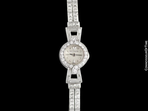 1952 Jaeger-LeCoultre Vintage Ladies Backwind Cocktail Watch - Platinum & Diamonds