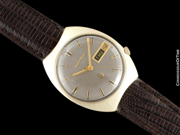 1963 Bulova Accutron Vintage Mens Day Date Watch - Solid 14K Gold