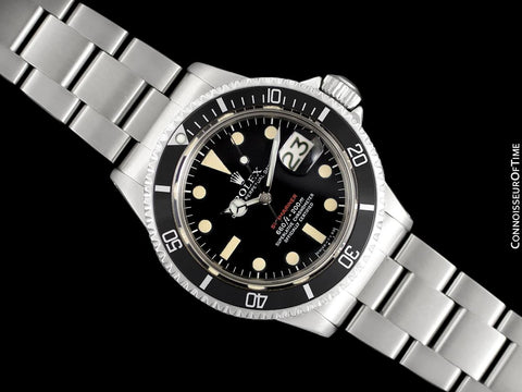 1970 Rolex Submariner Vintage Mens Ref. 1680 Watch with Red Letter Dial - Stainless Steel