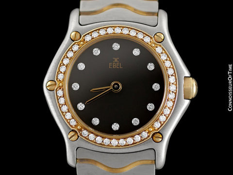 Ebel Classic Wave Ladies Mini Watch - Stainless Steel & 18K Gold with Original Factory Set Ebel Diamonds