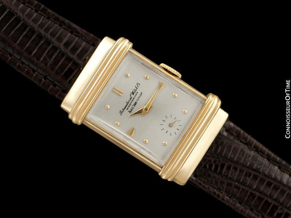 1945 IWC For Black, Starr & Gorham Vintage Art Deco Mens Top Hat Wristwatch - 14K Gold