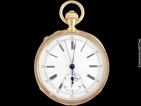 1890 Patek Philippe Split-Second Chronograph Vintage / Antique Mens 50mm Pocket Watch - 18K Gold
