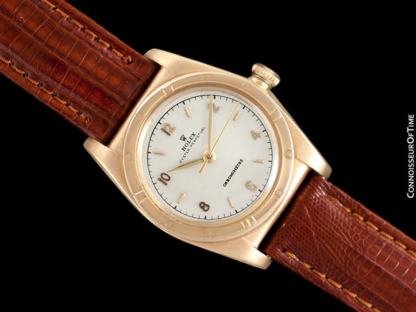 "1946 Rolex Vintage Mens Ref. 3372 ""Luxury Model"" Bubbleback Watch - 14K Rose Gold"