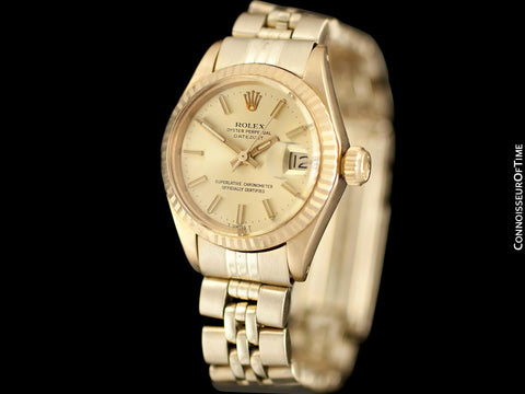1972 Rolex Datejust (President) Ladies Vintage Watch with Champagne Dial - 18K Gold