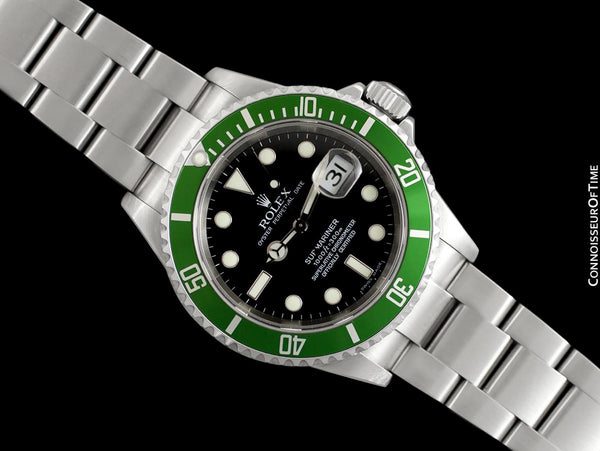 "Rolex Submariner Green ""Kermit"" 50th Anniversary 16610LV Mens Watch, Stainless Steel - Box & Booklets"