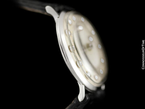 1966 Jaeger-LeCoultre Vintage Mens Mystery Dial Watch - 14K White Gold & Diamonds